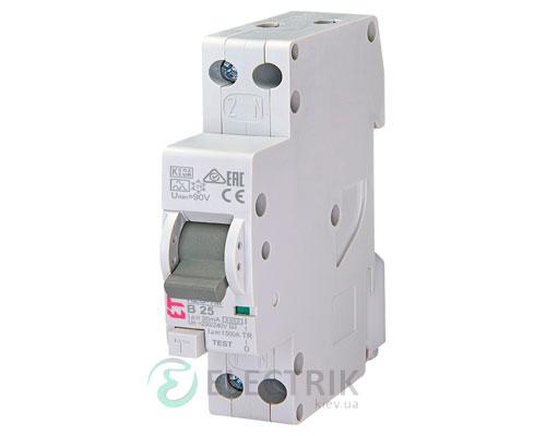 Дифференциальный автоматический выключатель KZS-1M B 20/0,03 тип A (6kA, нижнее подключение)