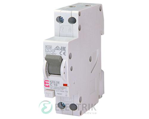 Дифференциальный автоматический выключатель KZS-1M C 10/0,01 тип A (6kA, нижнее подключение)