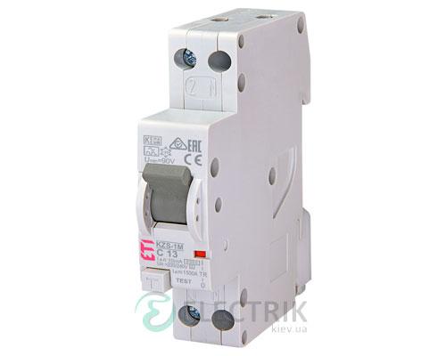 Дифференциальный автоматический выключатель KZS-1M C 13/0,01 тип A (6kA, нижнее подключение)