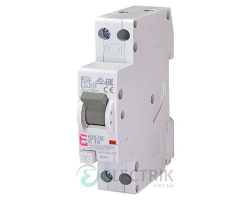 Дифференциальный автоматический выключатель KZS-1M C 16/0,01 тип A (6kA, нижнее подключение)
