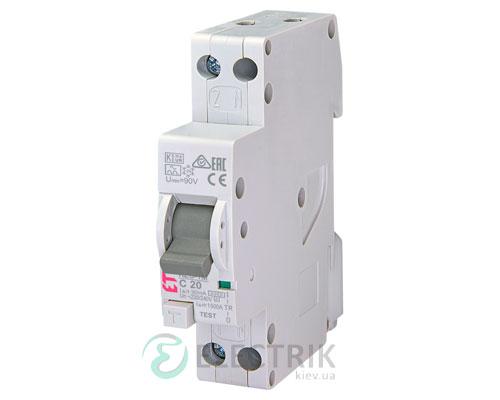 Дифференциальный автоматический выключатель KZS-1M C 20/0,03 тип A (6kA, нижнее подключение)
