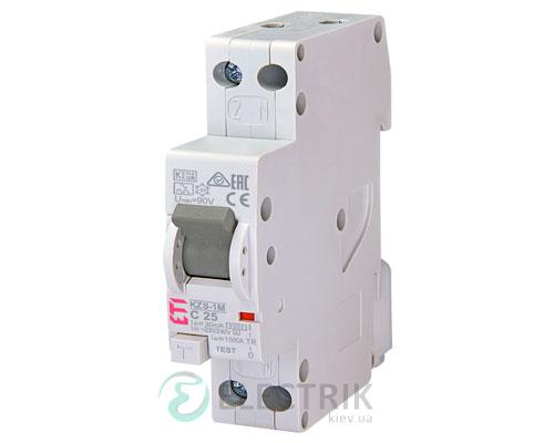 Дифференциальный автоматический выключатель KZS-1M C 25/0,03 тип A (6kA, нижнее подключение)