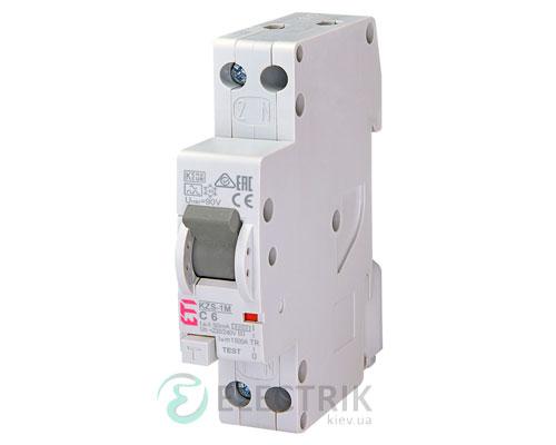 Дифференциальный автоматический выключатель KZS-1M C 6/0,03 тип A (6kA, нижнее подключение)
