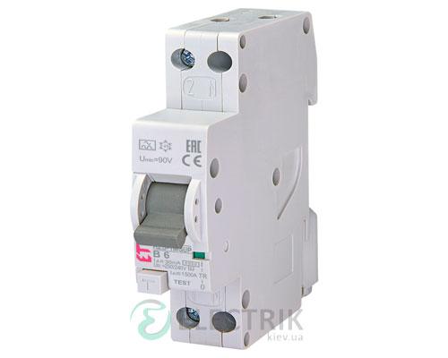Дифференциальный автоматический выключатель KZS-1M SUP B 6/0,03 тип A (6kA, верхнее подключение)