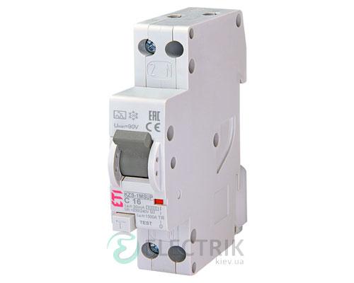 Дифференциальный автоматический выключатель KZS-1M SUP C 16/0,03 тип A (6kA, верхнее подключение)
