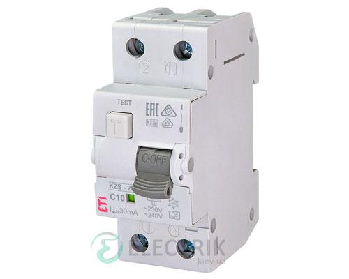 Дифференциальный автоматический выключатель KZS-2M C 10/0,03 тип A (10kA)