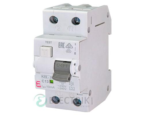 Дифференциальный автоматический выключатель KZS-2M C 13/0,01 тип A (10kA)
