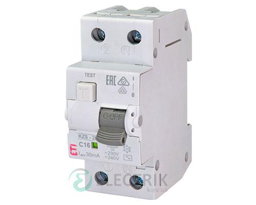 Дифференциальный автоматический выключатель KZS-2M C 16/0,03 тип AC (10kA)