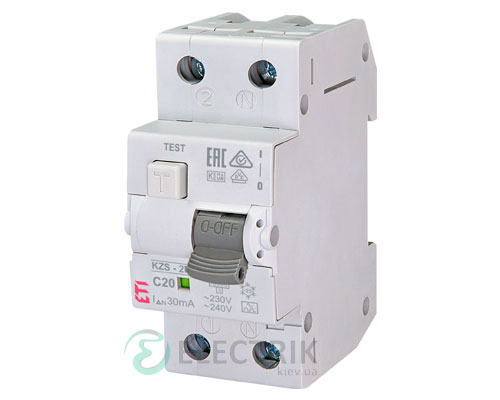 Дифференциальный автоматический выключатель KZS-2M C 20/0,03 тип A (10kA)