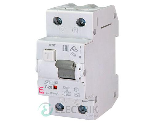 Дифференциальный автоматический выключатель KZS-2M C 20/0,03 тип AC (10kA)