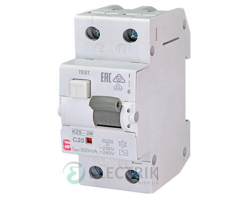 Дифференциальный автоматический выключатель KZS-2M C 20/0,3 тип AC (10kA)