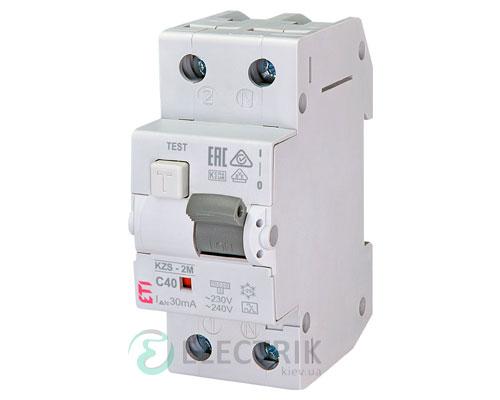 Дифференциальный автоматический выключатель KZS-2M C 40/0,03 тип A (10kA)