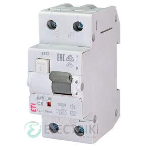 Дифференциальный автоматический выключатель KZS-2M C 6/0,01 тип A (10kA)