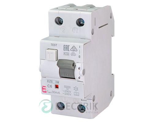 Дифференциальный автоматический выключатель KZS-2M C 6/0,03 тип A (10kA)