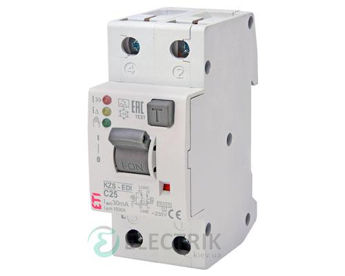 Дифференциальный автоматический выключатель KZS-2M2p EDI C 25/0,03 тип A (10kA)