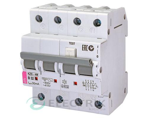 Дифференциальный автоматический выключатель KZS-4M 3p+N B 32/0,03 тип AC (6kA)