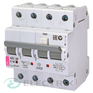 Дифференциальный автоматический выключатель KZS-4M 3p+N C 16/0,03 тип AC (6kA)