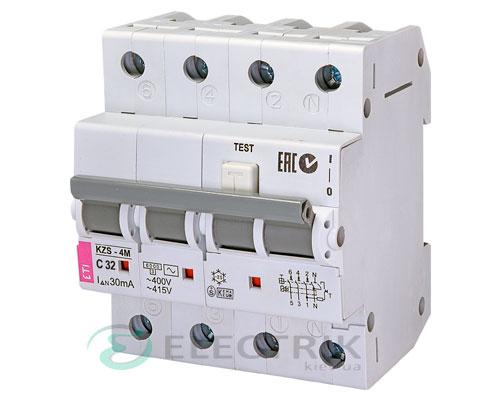 Дифференциальный автоматический выключатель KZS-4M 3p+N C 32/0,03 тип AC (6kA)