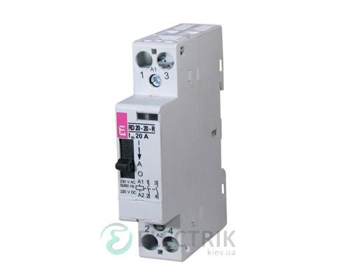 Контактор модульный R 20-02-R 20A 24V ACDC 2NC с ручным управлением, ETI (Словения) 2464043