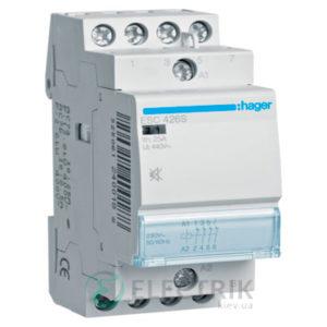 Контактор модульный бесшумный ESC426S 25А 230В AC 4НЗ, Hager (Франция)