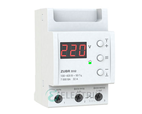 Реле напряжения ZUBR D32t однофазное на DIN-рейку 32А (с термозащитой)