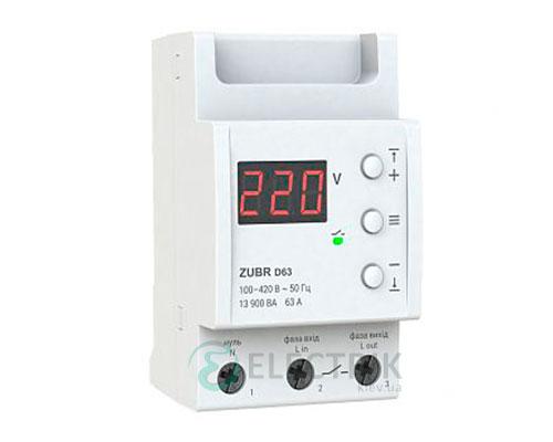 Реле напряжения ZUBR D63t однофазное на DIN-рейку 63А (с термозащитой)