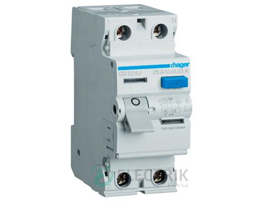 Устройство-защитного-отключения-(УЗО)-CD225J-2P-25A-30mA-тип-A,-Hager-