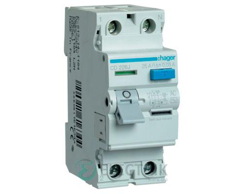 Устройство-защитного-отключения-(УЗО)-CD226J-2P-25A-30mA-тип-AC,-Hager-