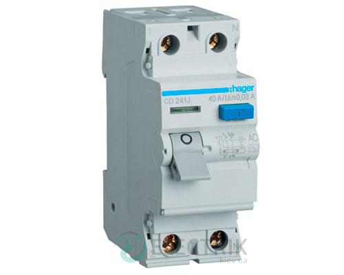 Устройство-защитного-отключения-(УЗО)-CD241J-2P-40A-30mA-тип-AC,-Hager-