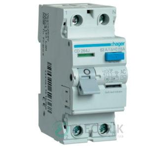 Устройство-защитного-отключения-(УЗО)-CD264J-2P-63A-30mA-тип-AC,-Hager-