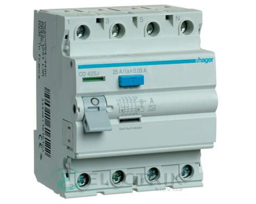 Устройство-защитного-отключения-(УЗО)-CD425J-4P-25A-30mA-тип-A,-Hager-