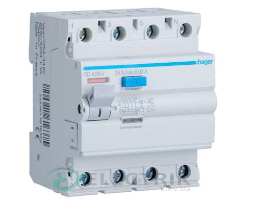 Устройство-защитного-отключения-(УЗО)-CD426J-4P-25A-30mA-тип-AC,-Hager-
