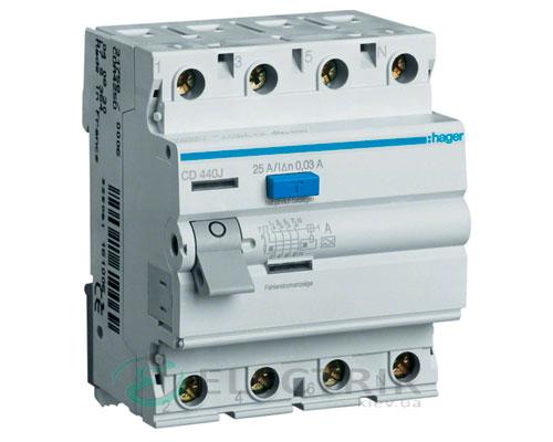 Устройство-защитного-отключения-(УЗО)-CD440J-4P-40A-30mA-тип-A,-Hager-