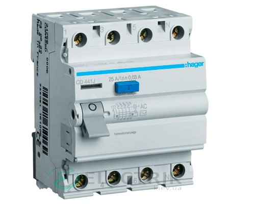 Устройство-защитного-отключения-(УЗО)-CD441J-4P-40A-30mA-тип-AC,-Hager-