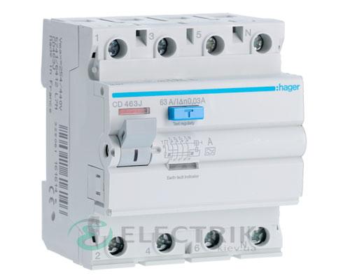 Устройство-защитного-отключения-(УЗО)-CD463J-4P-63A-30mA-тип-A,-Hager-