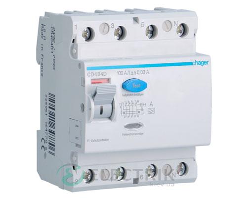 Устройство-защитного-отключения-(УЗО)-CD480D-4P-80A-30mA-тип-A,-Hager-