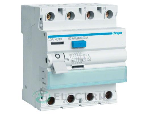 Устройство-защитного-отключения-(УЗО)-CD484D-4P-100A-30mA-тип-A,-Hager-