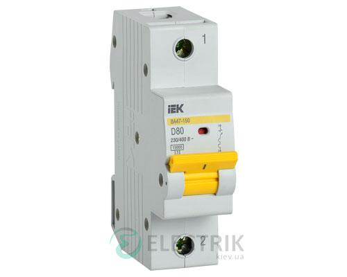 Автоматический выключатель ВА47-150 1Р 80А 15кА D IEK