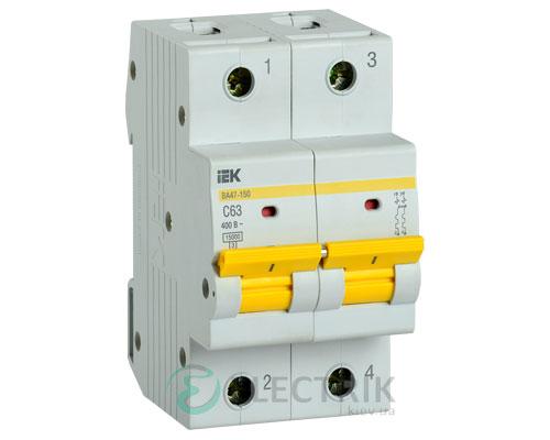 Автоматический выключатель ВА47-150 2Р 63А 15кА C IEK