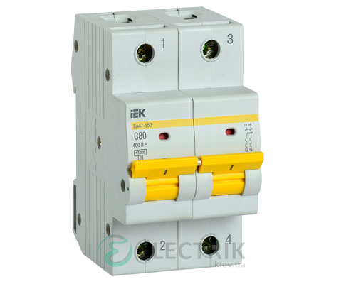 Автоматический выключатель ВА47-150 2Р 80А 15кА C IEK