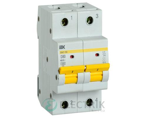 Автоматический выключатель ВА47-150 2Р 80А 15кА D IEK