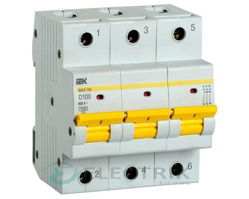 Автоматический выключатель ВА47-150 3Р 100А 15кА D IEK