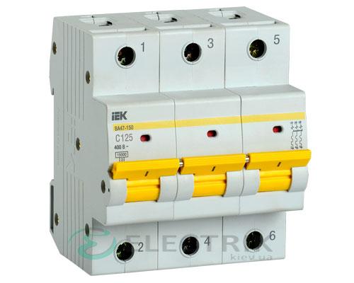 Автоматический выключатель ВА47-150 3Р 125А 15кА C IEK