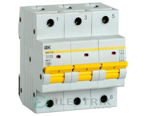Автоматический выключатель ВА47-150 3Р 125А 15кА D IEK