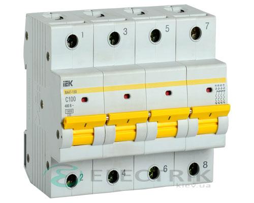 Автоматический выключатель ВА47-150 4Р 100А 15кА C IEK