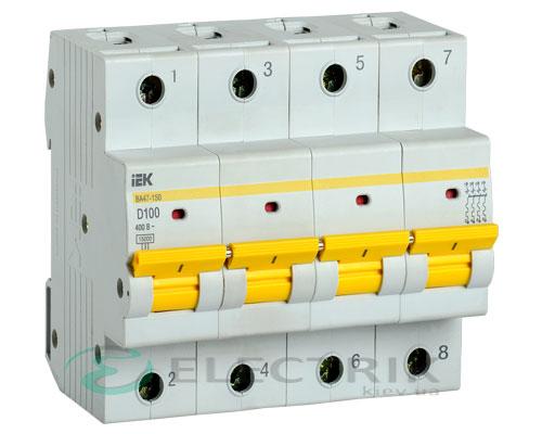 Автоматический выключатель ВА47-150 4Р 100А 15кА D IEK