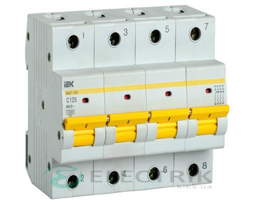 Автоматический выключатель ВА47-150 4Р 125А 15кА C IEK
