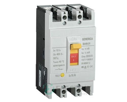 Автоматический выключатель ВА66-31 3Р 16А 18кА GENERICA SAV10-3-0016-G