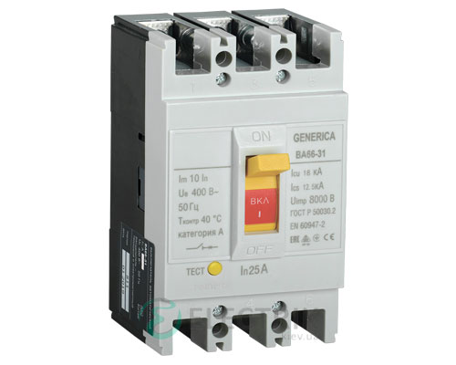 Автоматический выключатель ВА66-31 3Р 25А 18кА GENERICA SAV10-3-0025-G