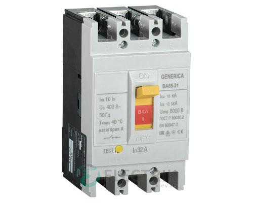 Автоматический выключатель ВА66-31 3Р 32А 18кА GENERICA SAV10-3-0032-G